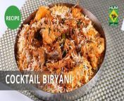 Cocktail Biryani is just the food for you if you like your Biryani full of flavors and extra spicy! You'll absolutely love this one. <br/>#MasalaTV #Food #MasalaRecipes #Recipe #EveningWithShireen #ShireenAnwar#Dawat #AbidaBaloch #Lazzat #SaminaJalil #FlameOnHai #IrfanWasti #Tarka #RidaAftab #MehboobsKitchen #MehboobKhan #FoodDiaries #ZarnakSidhwa #Breakfast #Dinner#Lunch #Chef #Cooking#Baking #Eating #KarachiFood #FastFood #DesiFood #Desi<br/><br/><br/><br/>Cocktail Biryani:<br/>Ingredients:<br/>Rice 500 gm<br/>Chicken with bone 200 gm<br/>Quail 4 to 5 <br/>Prawn 8 to 10<br/>Mutton chops boiled 4 to 5 <br/>Potato cubes boiled 1 large<br/>Oil ¼ cup<br/>Ginger & garlic paste 2 tbsp<br/>Green chili paste 2 tbsp<br/>Tomato slices 1 cup<br/>Tamarind pulp ¼ cup<br/>Yogurt ¼ cup<br/>Salt to taste<br/>Red chili crushed 1 tbsp<br/>Turmeric powder 1 tsp<br/>Whole spice powder 1 tsp<br/>Red orange color few drops<br/>Mint leaf ½ bunch<br/>Fresh Coriander ½ bunch <br/>Green chili small 4 to 5<br/>Screw pine essence few drops<br/>Fried onion ¼ cup<br/><br/>METHOD<br/>Heat oil add ginger garlic paste and green chilies paste fry well. Add chicken, batter, prawns and mutton chops cook well. Add all spices, yogurt, tamarind pulp and half tomatoes cook well. When all meat is done add potatoes, green coriander, mint, green chilies, remaining tomatoes and boiled rice. Add screw pine essence, red, orange color, fried onion and oil, leave for simmer.<br/><br/><br/>Chicken Angara:<br/>Ingredients for Masala Mix<br/>Coriander 1 tbsp<br/>Cumin 1 tbsp<br/>Black pepper 1 tsp<br/>Whole red chili 5 to 6<br/>Cinnamon sticks 1 to 2<br/>Cloves 5 to 6<br/>For Gravy:<br/>Chicken with bone 500 gm<br/>Oil ¼ cup<br/>Ginger & garlic paste 1 tbsp<br/>Red chili powder 1 tbsp<br/>Turmeric powder 1 tsp<br/>Dry fenugreek 1 tbsp<br/>Salt to taste<br/>Tomato puree ½ cup<br/>Fried onion ¼ cup<br/>Yogurt ½ cup<br/>Coal for smoke<br/><br/>METHOD<br/>Heat oil in frying pan add all spices cook well and then grind 