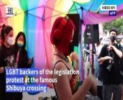 Japan LGBT activists push for legal protection at Tokyo protest<br/><br/>Drag queens, LGBT rights activists and their supporters dance in Tokyo's Shibuya, demanding equality in Japan, after ruling lawmakers were accused of violating the Olympic spirit with homophobic remarks that included saying same-sex relationships threaten \